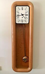 Mid Century Howard Miller Arthur Umanoff Pendulum Mantle Wall Clock Oak Case