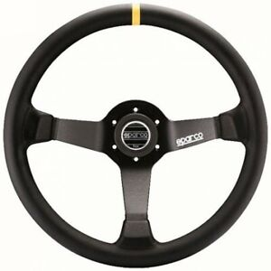 Sparco R 345 Competition Leather Steering Wheel W Yellow Stripe 015r345mln
