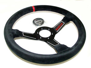 Sparco 015l750sc Steering Wheel Black Red L575 Monza Suede 350mm Red Stripe