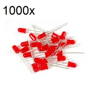 1000x Red Led 5mm Wide Angle Diffused 3v Light Emitting Diodes Bright Round Pcb