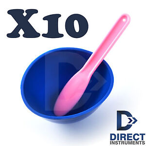 10 Sets Flexible Rubber Mixing Bowl Cup Dental Lab Impression Alginate Spatula