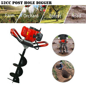 52cc Gas Powered Post Hole Digger W 6 10 Earth Auger Power Engine