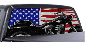 Fgd Truck Rear Window Motorcycle American Flag Perforated Vinyl Decal Wrap
