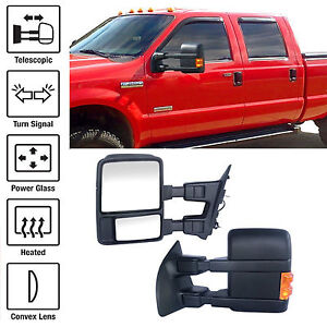 Set Towing Mirrors Power Heated Turn Signal For F250 F550 Ford 99 07 Super Duty
