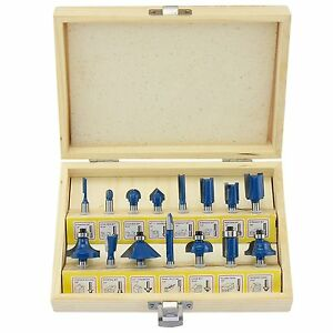 Router Bit 15pc Set Ogee Molding Frame Cutter Wood Work Hobby Tool Storage Box