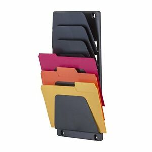 Wall File Holder Letter Document Pockets Organizer Office Display Plastic Black