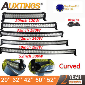 Curved Led Light Bar Work Beam 4wd Boat Offroad Atv 4x4 20 32 42 52inch