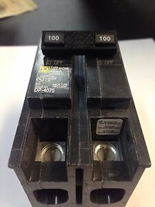 Square D Hom2100 Homeline 100 amp Two pole Circuit Breaker