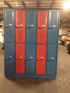 Heavy Duty Red And Blue Lockers In Good Condition Combinations Provided