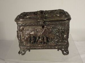 Unusual Large Relief Repousse Silver Plate Bronze Or Copper Lock Box Jewelry Cas