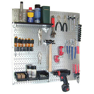 Galvanized Steel Pegboard Tool Organizer Wall Mount Garage Work Area Storage New