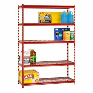 Red 5 Shelf Steel Storage Unit 72in Tall Wire Rack Home Office Warehouse Garage