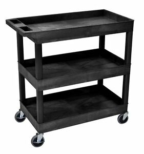Black 3 Lipped Shelf Cart Caster Plastic Storage Utility Service Transport Wheel