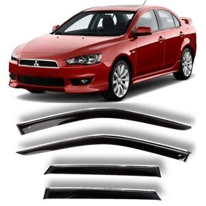 Chrome Trim Window Visors Guard Vent Deflectors For Mitsubishi Lancer 2007 2017