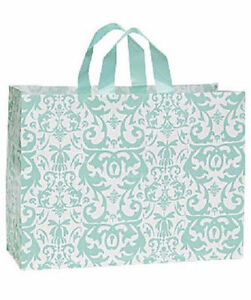 Shopping Bags Plastic 25 Aqua Blue Damask Frosty Frosted Merchandise 16 X 6 X 12