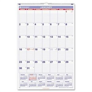 Recycled Monthly Wall Calendar Blue And Red 20 X 30 2016 X 2