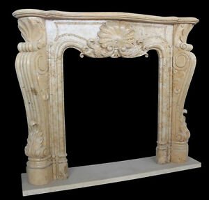 Hand Carved Marble Fireplace Mantel With French Design Shell Carving