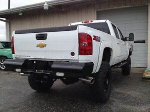 Fab Fours Black Steel Rear Bumper For 2011 2014 Gm Silverado Sierra 2500 3500 Hd