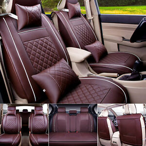 Pu Leather Coffee Car Seat Cover Size L 5 Seats Front Rear Cushion W Pillow