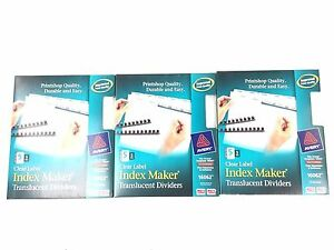Avery 16062 Index Maker Unpunched Clear 5 Tab Label Dividers Lot Of 3