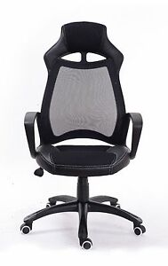 Black Pu Leather Chair Mesh High back Task Chair For Office Chair