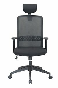 Black Adjustable Leather Chair Mesh High back Task Chair For Office Chair
