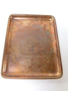 Vintage Tiffany Company Copper Wedding Invitation Rare Desk Tray Antique V35