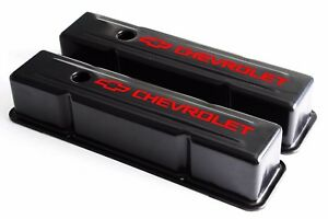 Sbc Black Steel Tall Valve Covers W Red Chevrolet Logo 58 86 283 400 Chevy
