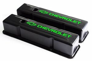 Sbc Black Steel Tall Valve Covers W Green Chevrolet Logo 58 86 283 400 Chevy