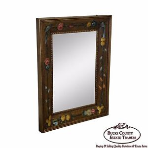 Floral Hand Painted Gilt Frame Beveled Wall Mirror