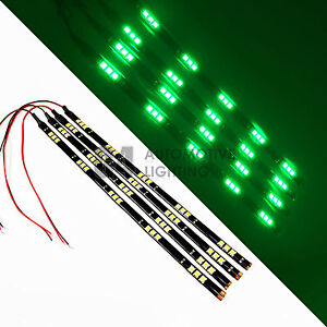 4x Green 12 Led Strip 15 Smd Car Footwell Under Dash Accent Light Waterproof