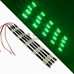 4x Green 12 Led Strip 15 Smd Car Footwell Under Dash Accent Light Waterpr