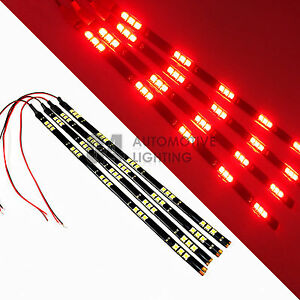 4x Red 12 Led Strip 15 Smd Car Footwell Under Dash Accent Light Waterproof