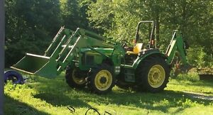 2004 5520 John Deere Tractor With Front Loader Back Hoe Self levelers