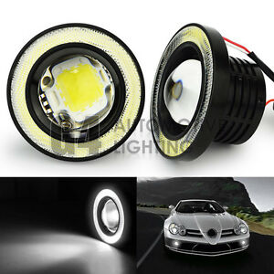 2x 3 5 Round Led Fog Light Projector Lamp Bright White Angel Eyes Drl Halo Ring
