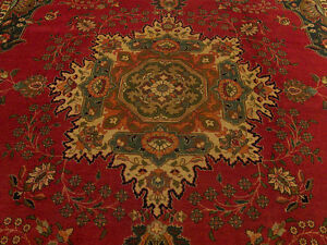 10 X 13 Handmade Antique Persian Oriental Serapi Design Wool Vintage Rug
