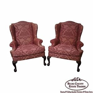 Quality Pair Of Chippendale Ball Claw Foot Mahogany Wing Chairs By Woodmark