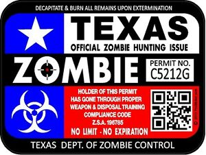 Texas Flag Zombie Hunting License Permit 3 x4 Decal Sticker Outbreak 1295