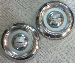 1955 Thru 1956 Oldsmobile Lot Of 2 Dog Dish Hubcaps 10 Inch 7 5 8 To Inner Bead