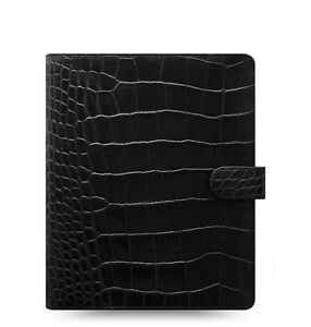 Filofax Classic Croc A5 Size Organizer planner Ebony Color Leather 026071