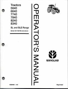 Ford nh 5640 6640 7740 7840 8240 8340 Tractor Operator s Manual with Cab