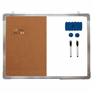 Whiteboard Bulletin Hanging Combination Set Magnetic Dry Erase Cork Board Office
