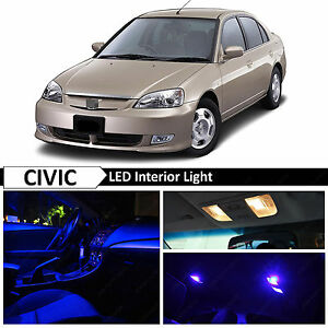Blue Interior License Led Light Package Fits 2001 2005 Honda Civic Sedan Coupe
