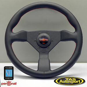 Nardi Personal Grinta Steering Wheel Black Leather Red Stitch 330mm 6430 33 2096