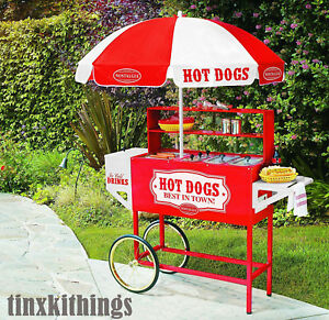 Red Hot Dog Vending Cart Stainless Steel Cooking Roller Bun Meat Warming Tray