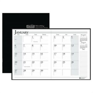 Ruled 14 month Planner With Stitched Leatherette Cover 7 X 10 Black 2013 2015