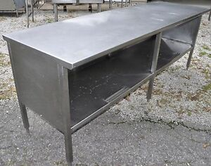 8 Ft Heavy Duty Stainless Steel Flat Prep Table 1 Shelf Work Cabinet 96 X 30