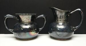 Antique Derby Ct Silver Plate Co Quadruple Handled Sugar Bowl Creamer