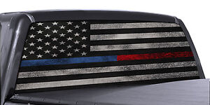 Truck Rear Window Decal Thin Blue Line Red Line American Flag Police