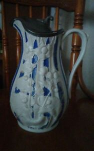 Ant Victorian English Parian Blue White Porcelain Pitcher Signed T Booth Hanley
